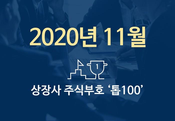 상장사 주식부호 '톱 100' (2020년 11월 02일 기준)