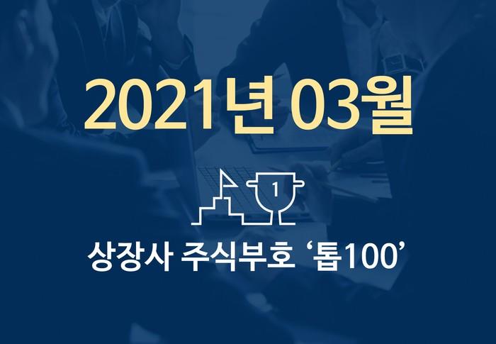 상장사 주식부호 '톱 100' (2021년 03월 02일 기준)