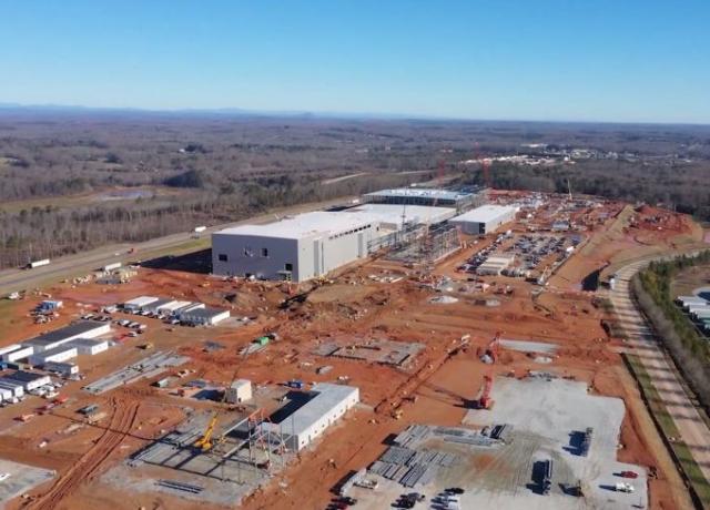 SK이노베이션이 미국 조지아주 잭슨 카운티 커머스시에 건설 중인 전기차배터리 공장.<사진제공=SK이노베이션>
