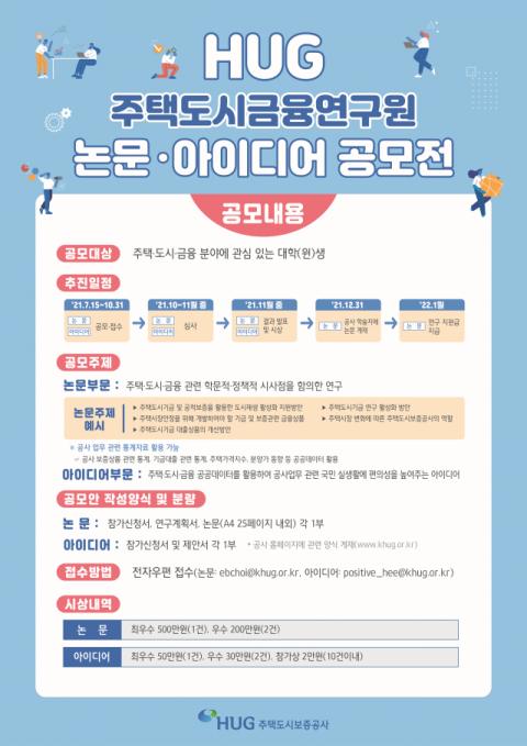 HUG, 주택도시금융연구원 논문·아이디어 공모전 개최